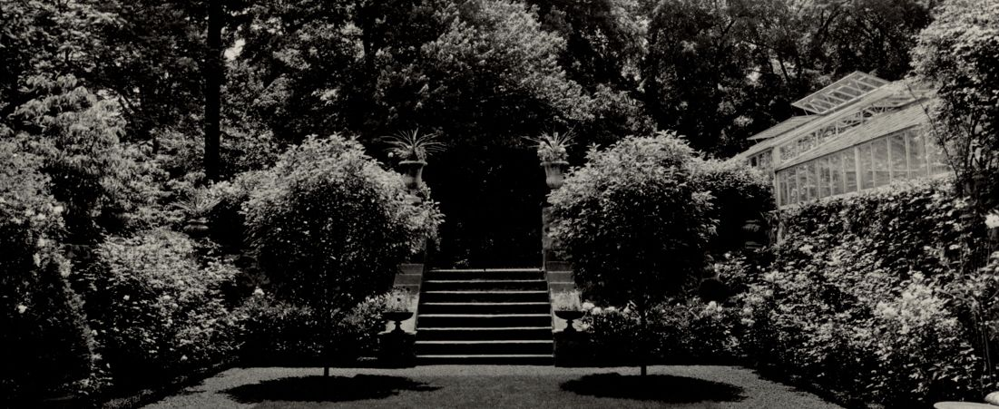 Ashdale Farm. View of Rose Garden looking towards stairs, greenhouse on right