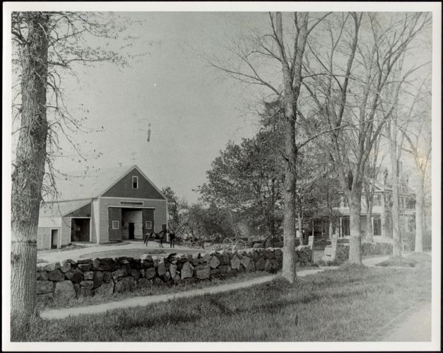 Ashdale Farm. Copy of early photo of Ashdale Farm with barn and house; horses and buggies in drive.