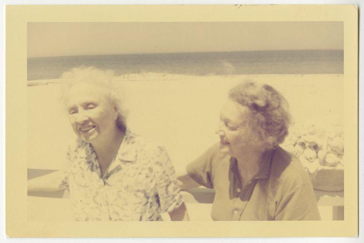 Helen Keller and Katherine Cornell at Martha's Vineyard, June 1961