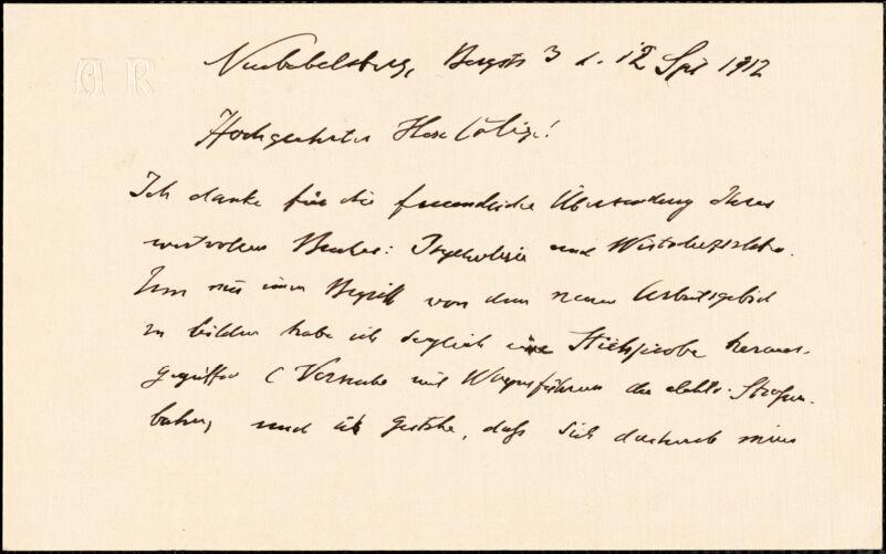 Riehl, Alois, 1844-1924 autograph letter signed to Hugo Münsterberg, Neubabelsberg, 12 September 1912