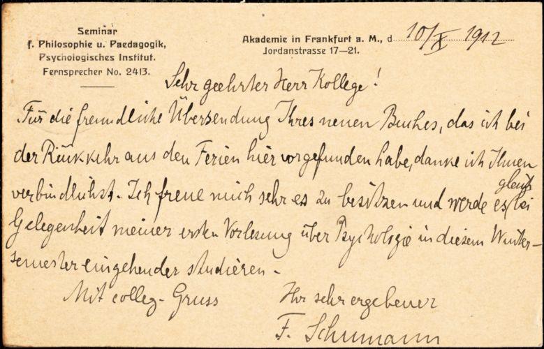 Schumann, Friedrich, 1863-1940 autograph note signed to Hugo Münsterberg, Frankfurt a.M., Ger., 10 October 1912