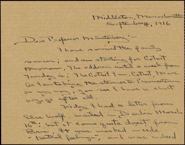 Wilkens, Zora Putnam autograph letter signed to Hugo Münsterberg, Middleton, Mass., 04 September 1916
