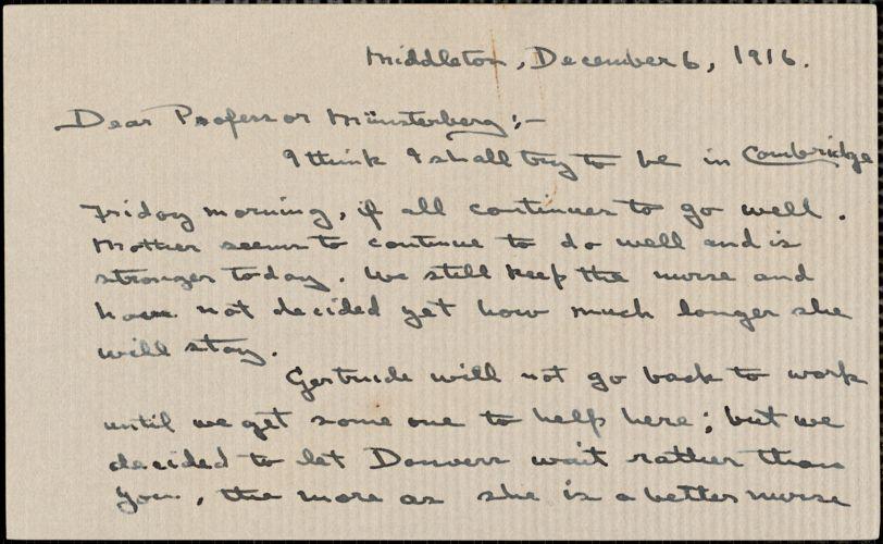 Wilkens, Zora Putnam autograph letter signed to Hugo Münsterberg, Middleton, Mass., 06 December 1916