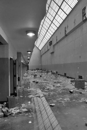 Aftermath of cell block riot, Walpole State Prison