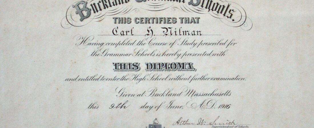 Buckland Grammar School Diploma for Carl H. Nilman, Buckland, Mass., 1916