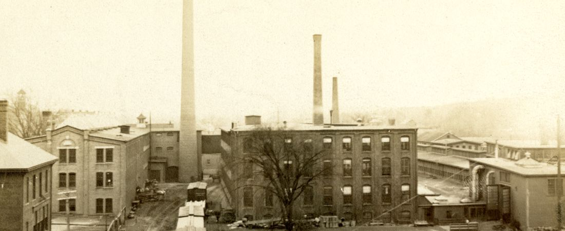 A view of the rear of Draper Company in Hopedale, Massachusetts looking eastward
