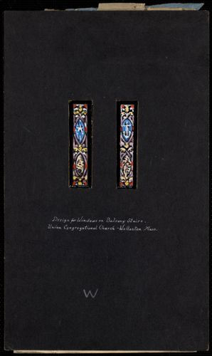 Design for windows on balcony stairs, Union Congregational Church, Wollaston, Mass.