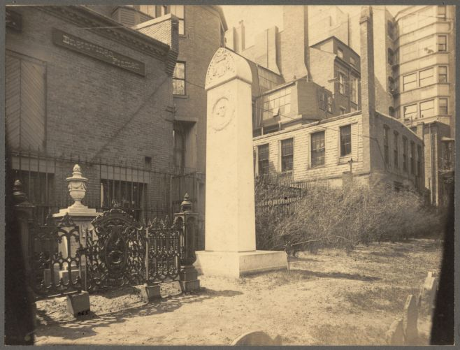 Old Granary Burying Ground showing Hancock monument