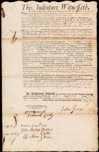 Document of indenture: Servant: Gray, Lydia. Master: Jones, John. Town of Master: Marshfield
