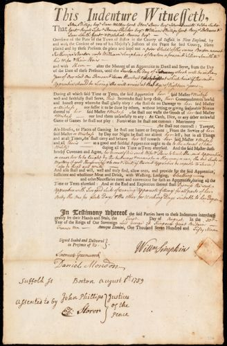 Document of indenture: Servant: Stanton, Katharine. Master: Simpkins, William. Town of Master: Boston