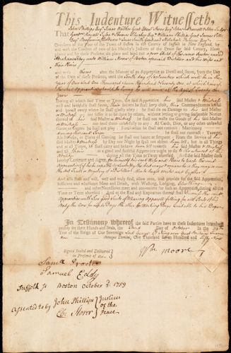 Document of indenture: Servant: Tobey, Abraham. Master: Moore, William. Town of Master: Boston