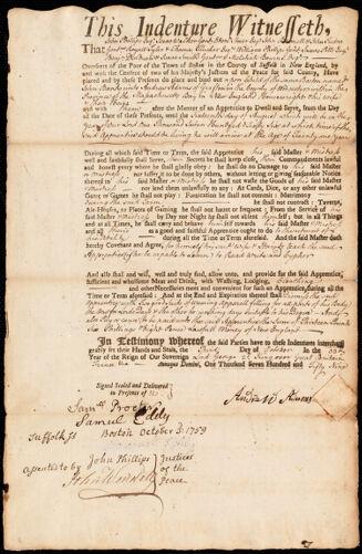 Document of indenture: Servant: Banks, John. Master: Adams, Andrew. Town of Master: Grafton