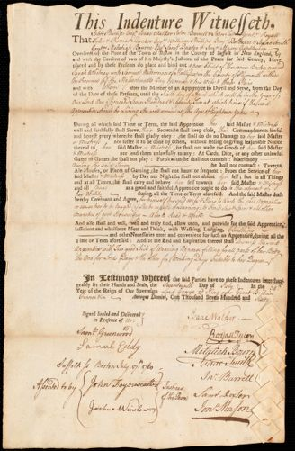 Document of indenture: Servant: Whitney, Sarah. Master: Waterman, Samuel. Town of Master: Halifax