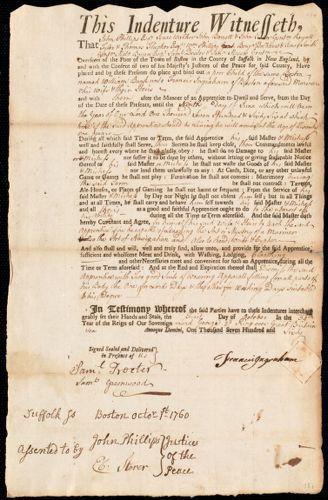 Document of indenture: Servant: Burk, William. Master: Ingraham, Francis. Town of Master: Boston