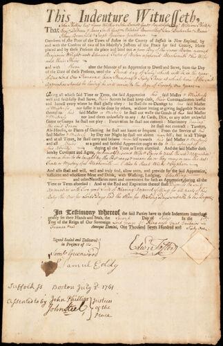 Document of indenture: Servant: Wright, Benjamin. Master: Foster, Edward. Town of Master: Boston