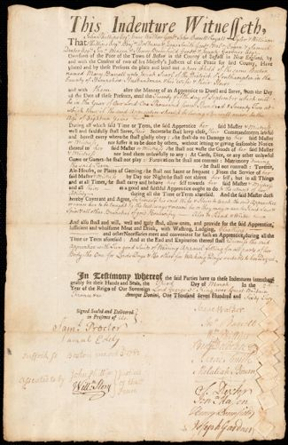 Document of indenture: Servant: Barrett, Mary. Master: Searl, Josiah. Town of Master: Southampton