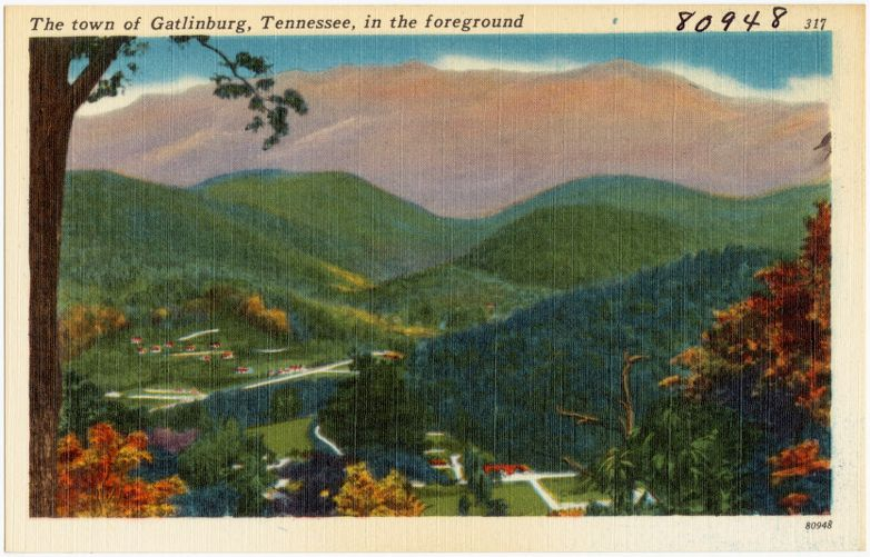 The town of Gatlinburg, Tennessee, in the foreground