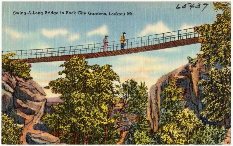 Swing-A-Long Bridge in Rock City Gardens, Lookout Mt.