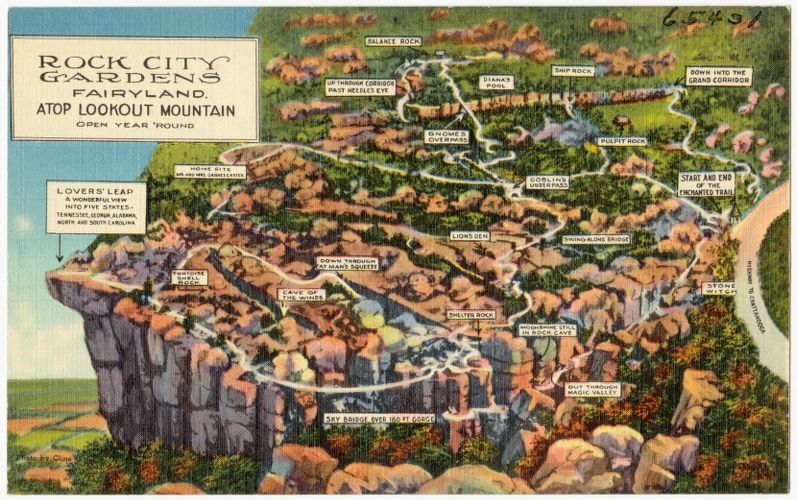 Rock City Gardens, Fairyland, atop Lookout Mountain, open year 'round