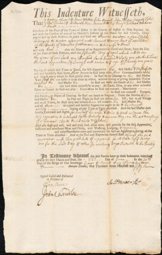Document of indenture: Servant: Bantom, Thomas. Master: Mower, Samuel Jr. Town of Master: Worcester.