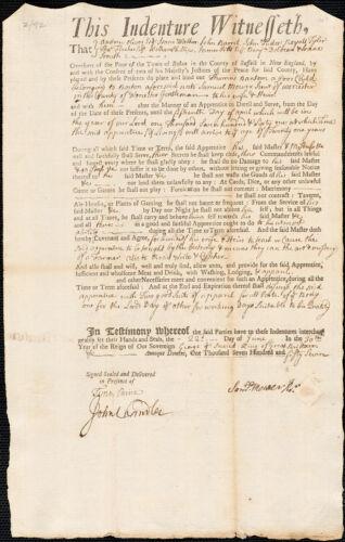 Document of indenture: Servant: Bantom, Thomas. Master: Mower, Samuel Jr. Town of Master: Worcester.