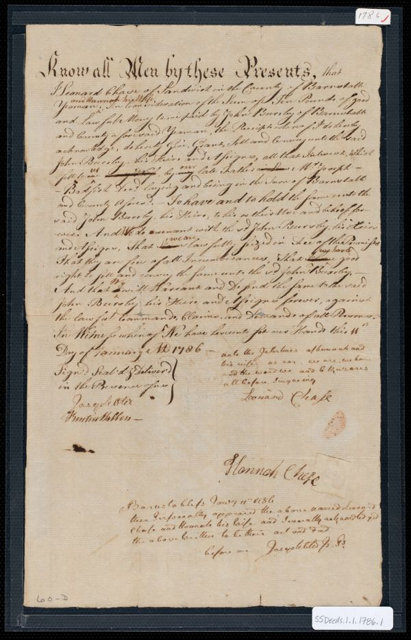 Deed of property in Barnstable sold to John Bursley of Barnstable by Leonard Chase and Hannah Chase of Sandwich