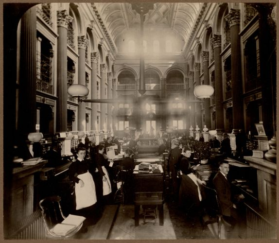 Boston Public Library. Boylston Street. Bates Hall
