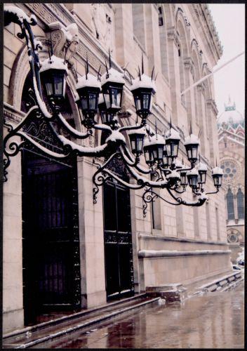 Snow covered lanterns, McKim entrance