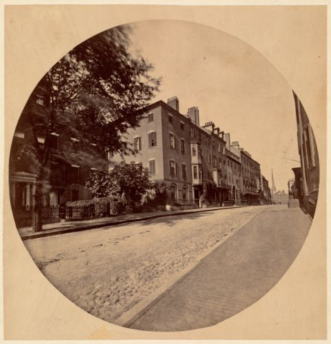Mt. Vernon St. above Louisburg Square, showing residence of C. F. Adams