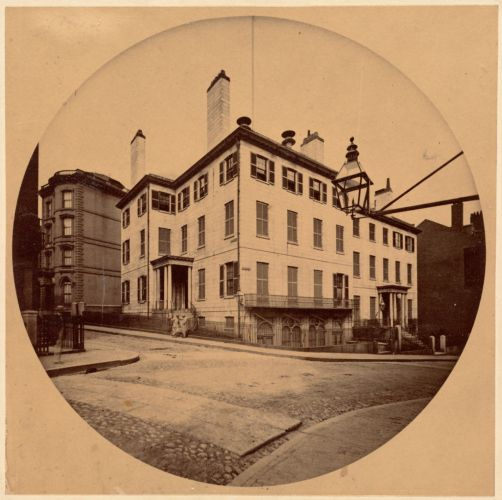 Old Somerset Club house, corner Somerset and Beacon Sts., 1860. Residence at right on Beacon St. of John Lowell Gardner