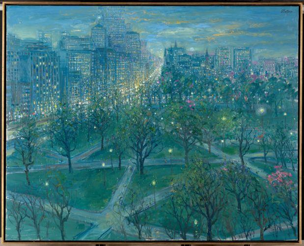 The Public Gardens at twilight Boston skyline