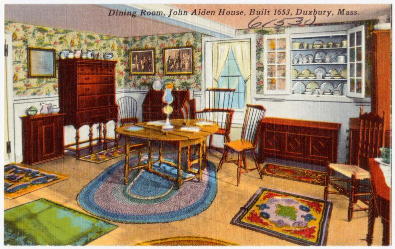 Dining room, John Alden House, built 1653, Duxbury, Mass.