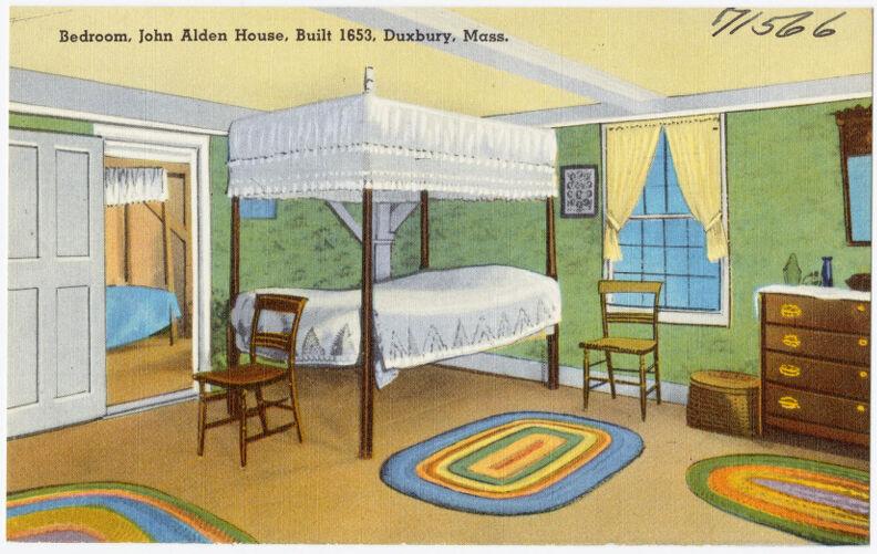Bedroom, John Alden House, built 1653, Duxbury, Mass.
