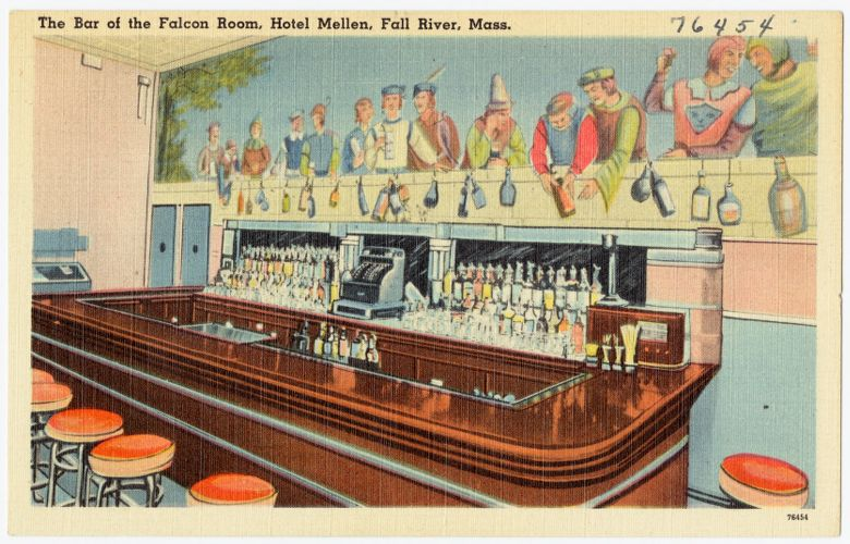 The bar at the Falcon Room, Hotel Mellen, Fall River, Mass.