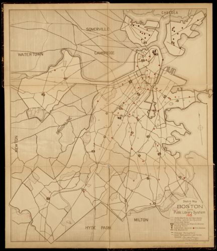 Sketch map of Boston and the Public Library system