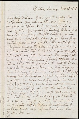 Letter from Richard Davis Webb, Dublin, [Ireland], to Anne Warren Weston, Sunday, Nov. 28, 1858