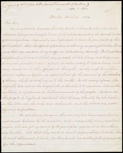 Copy of letter from William Lloyd Garrison, Boston, [Mass.], to Amos Farnsworth, March 31, 1834