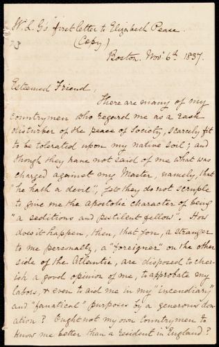 Letter from William Lloyd Garrison, Boston, [Mass.], to Elizabeth Pease Nichol, Nov. 6th, 1837