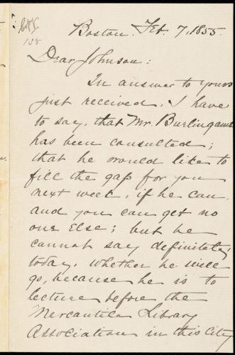 Copy of letter from William Lloyd Garrison, Boston, [Mass.], to Oliver Johnson, Feb. 7, 1855