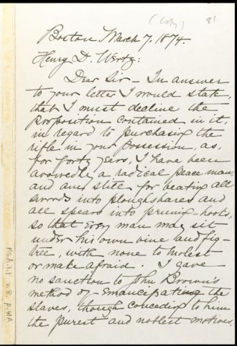 Copy of letter from William Lloyd Garrison, Boston, [Mass.], to Henry D. Wertz, March 7, 1874