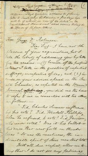 Draft of letter from William Lloyd Garrison, Roxbury, [Mass.], to George Dexter Robinson, March 14, 1876