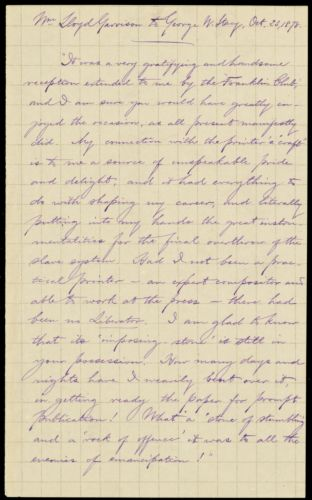 Extract of a letter from William Lloyd Garrison, [Roxbury, Mass.], to George Whittemore Stacy, Oct. 23, 1878