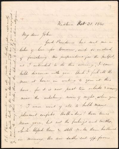 Samuel Osgood autograph letter signed to John Sullivan Dwight, Nashua, N.H., November 21, 1840