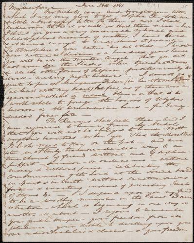 Elizabeth Palmer Peabody autograph letter signed to John Sullivan Dwight, [Boston], June 24, 1841