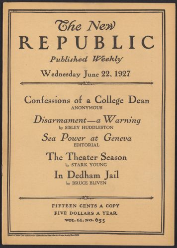Sacco-Vanzetti Case Records, 1920-1928. Printed Materials. The New Republic, August 24, 1927. Box 42, Folder 4, Harvard Law School Library, Historical & Special Collections