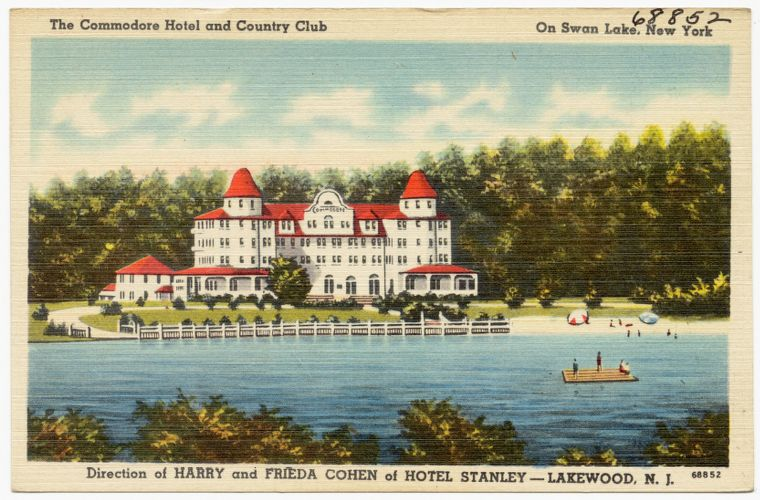 The Commodore Hotel and Country Club on Swan Lake, New York, direction of Harry and Frieda Cohen of Hotel Stanley, Lakewood, N. J.