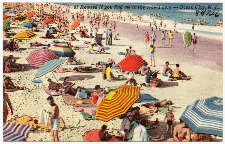 $5 reward if you find me in the crowd here -- Ocean City, N. J.