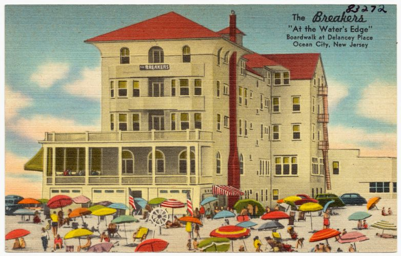 """The Breakers, """"At the Water's Edge"""", Boardwalk at Delancey Place, Ocean City, New Jersey"""