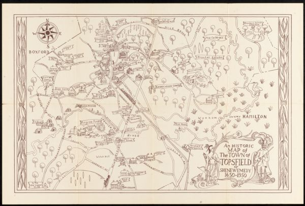 An historic map of the town of Topsfield or Shenewemedy 1650-1950