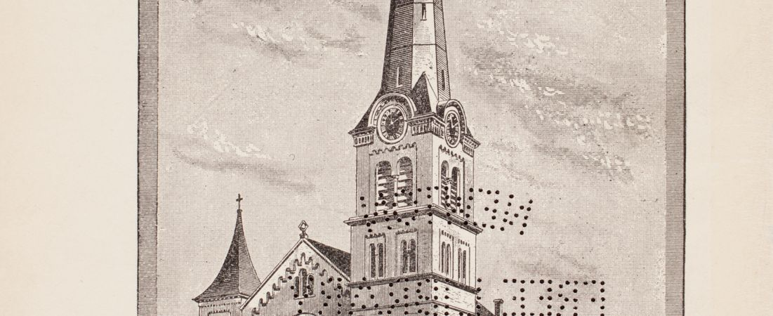 Annual of Eliot Church including roll of names and directory of families 1845-1887 - Illustration of the Exterior of Eliot Church -